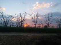 Uma opinião bonita do por do sol na área rural fotos de stock royalty free