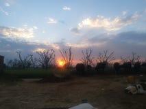 Uma opinião bonita do por do sol na área rural fotografia de stock