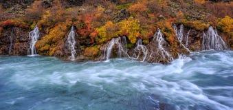 Uma opinião colorida do panorama de cachoeiras de Hraunfossar no outono fotografia de stock royalty free