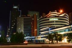 Uma opinião da noite em Astana Fotos de Stock Royalty Free
