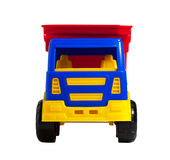 Uma opinião dianteira do caminhão plástico brilhante do brinquedo Fotografia de Stock Royalty Free
