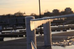 Uma opinião do inverno em Chicago imagens de stock royalty free