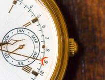 Uma opinião do macro do relógio Foto de Stock Royalty Free