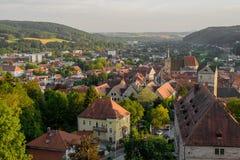 Uma opinião do olho do ` s do pássaro da cidade - Kronach Foto de Stock Royalty Free