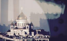 Uma opinião maravilhosa Cristo o salvador sobre o rio Moskva Imagens de Stock Royalty Free