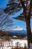 Uma opinião Mont Fuji em um dia de inverno claro, da vila de Saiko coberta pela neve pristine na região de cinco lagos fotografia de stock