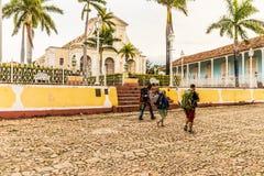 Uma opinião o major da plaza em Trinidad Cuba imagem de stock
