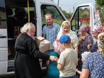 Uma oração em honra do ícone ortodoxo de Saint da mãe do deus Kaluga no distrito de Iznoskovsky, região de Kaluga de Rússia Fotografia de Stock