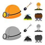 Uma pá, um mineiro, uma entrada a uma mina, um trole com carvão Ícones ajustados da coleção da mina nos desenhos animados, estilo Imagem de Stock Royalty Free