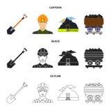 Uma pá, um mineiro, uma entrada a uma mina, um trole com carvão Ícones ajustados da coleção da mina nos desenhos animados, preto, Fotos de Stock