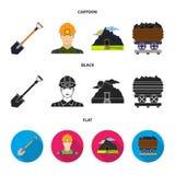 Uma pá, um mineiro, uma entrada a uma mina, um trole com carvão Ícones ajustados da coleção da mina nos desenhos animados, preto, Fotografia de Stock Royalty Free