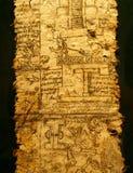 Uma página do códice. Império asteca, reino do imperador Fotografia de Stock Royalty Free