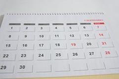 Uma página do calendário do mês com trinta dias imagens de stock royalty free