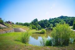 Uma paisagem bonita de uma lagoa Foto de Stock Royalty Free