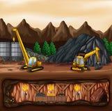 Uma paisagem da mina de carvão ilustração royalty free