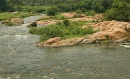Uma paisagem do rio pequeno com rochas fotos de stock
