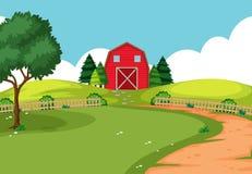 Uma paisagem exterior da exploração agrícola ilustração stock