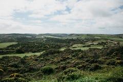 Uma paisagem natural bonita com árvores verdes em um terreno montanhoso contra um céu azul imagem de stock royalty free
