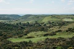 Uma paisagem natural bonita com árvores verdes em um terreno montanhoso contra um céu azul imagens de stock