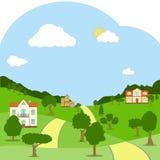 Uma paisagem rural com casas, os montes verdes, as árvores e a estrada ilustração stock