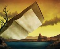 Uma paisagem surrealista do livro de texto ilustração stock