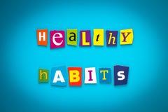 Uma palavra que escreve o texto - hábitos saudáveis - das letras cortadas em um fundo azul Título, cartão, bandeira com inscrição ilustração royalty free