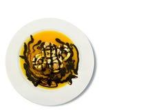 Uma panqueca doce com porca e chocolate de caju. Imagem de Stock Royalty Free