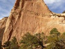 Uma parede vermelha da rocha e um céu azul Imagem de Stock Royalty Free