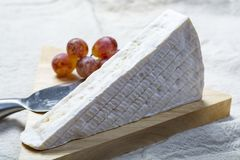 Uma parte de brie franc?s do queijo macio com molde branco e odor forte, serviu com uvas frescas fotos de stock royalty free