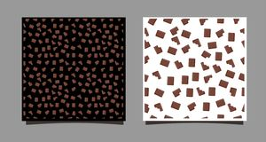 Uma parte de chocolate Teste padrão sem emenda de chocolates inteiros e mordidos em um fundo preto e branco Vetor ilustração do vetor