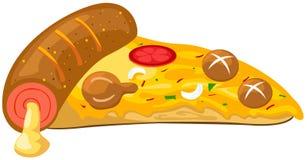 Uma parte de pizza ilustração stock