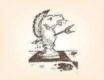 Uma parte do cavaleiro ou do cavalo é perfurada com uma garatuja da seta Clipart editável ilustração stock
