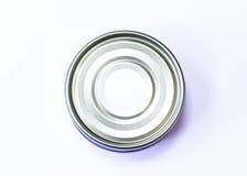 Uma parte inferior do atum pode em um fundo branco Fotos de Stock Royalty Free