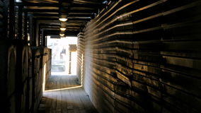 Uma passagem superior pedestre coberta feita de folhas de metal, de blocos de cimento e do assoalho de madeira video estoque