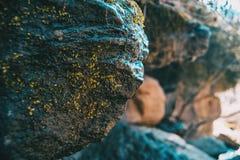Uma pedra grande com um bocado do musgo imagens de stock