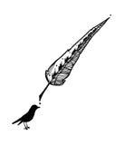 Uma pena e pássaros de desenho da tinta Fotografia de Stock