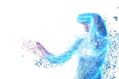 Uma pessoa em vidros virtuais voa aos pixéis Conceito futuro da tecnologia fotografia de stock