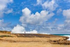 Uma pessoa que está em um penhasco perto da onda de quebra enorme espirra Foto de Stock Royalty Free