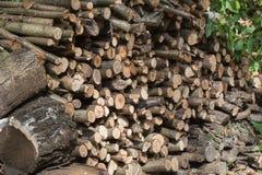 Uma pilha da madeira cortada no fogão imagens de stock royalty free
