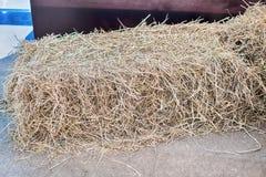 Uma pilha da palha no campo, pacotes da palha após a colheita Fotos de Stock