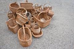 Uma pilha das cestas está na terra Fotos de Stock Royalty Free