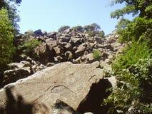 Uma pilha das pedras nas madeiras Imagem de Stock