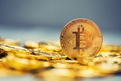 Uma pilha de bitcoins dourados em um contexto contínuo Fotos de Stock