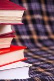Uma pilha de livros e de um fundo quadriculado Imagens de Stock Royalty Free