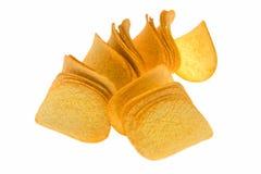 Uma pilha de microplaquetas de batata Imagens de Stock
