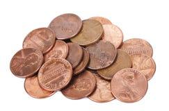 Pilha isolada das moedas de um centavo Foto de Stock