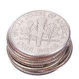 Pilha isolada da moeda de dez centavos dos E.U. Fotos de Stock