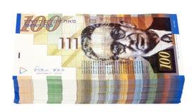 Pilha isolada de 100 contas do NIS Imagem de Stock Royalty Free