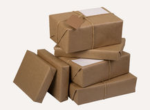 Uma pilha de pacotes do correio Fotos de Stock