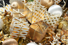 Uma pilha de presentes do Natal Fotografia de Stock Royalty Free